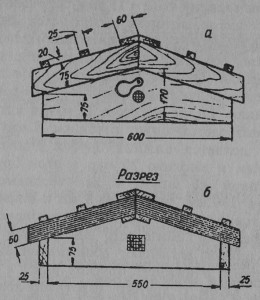 Рис. 27 Крыша улья: а - вид спереди; б - в разрезе.