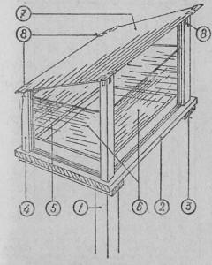 Кормушка для запасов пыльцы: 1 — опора, 2 — дно, 3 — поперечные перекладины, присоединенные снизу ко дну, 4 — опорные столбики кормушки, 6 — ко робка для запасов пыльцы, 6 — стеклянные стенки кормушки, 7 — стеклянная крышка, 8 — плоские защелки.