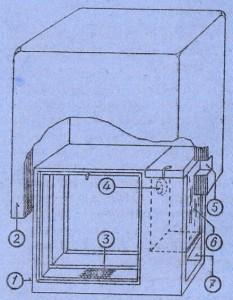 Секция Сук-Витекова: 1 — секция, 2 — кожух секции, 3 — отверстие для проветривания, 4 — отверстие для кормушки, 5 — леток в кожухе, 6 — стекле, 7 — передняя часть секции