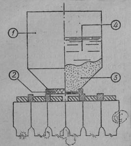Просачивающаяся кормушка, установленная на рамках с расплодом: 1 — сосуд, 2 — крышка, на дне которой расположена проволочная сетка, 3 — кристаллический сахар, 4 — вода.