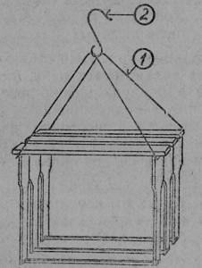 Проволочная держалка на три рамки, которые используются, для сбора роя: 1 — держалка, 2 — крючок для подвески.