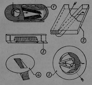 Различные типы выходных устройств (шлюзов) для пчел: 1 и 5 — пружинные, 2, 3, 4 — клапанные.