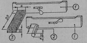 Устройство против воровства: 1 — задвижка летка, 2 — трубка из пластмассы, 3 — канал из проволочной сетки.
